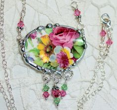 Broken China Jewelry, Oval Pendant Necklace