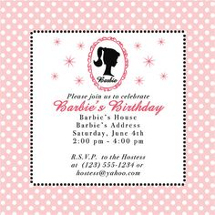 Barbie Party Square Invitation  Set of 10 Invitations by amymears,