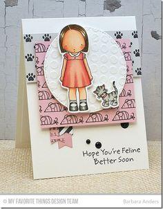 PI Feline Better Stamp Set, PI Feline Better Die-namics, Blueprints 23 Die-namics, Paw Prints Background, Circle Grid Stencil - Barbara Anders  #mftstamps