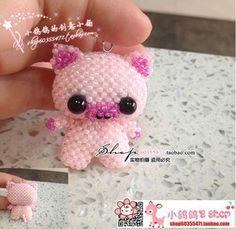 DIY手工串珠材料包 日本进口TOHO米珠 可爱粉猪猪  图纸/视频表格
