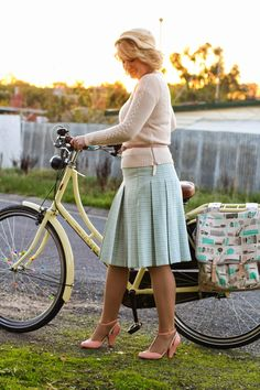 "virtuousmodestlady: ""A proper attire for virtuous Christian lady to ride bike. "" This virtuous Christian lady loves wearing her nice pleated skirt when she is out on a bike ride. Sexy Skirt, Dress Skirt, Proper Attire, Black Milk Clothing, Classic Skirts, Stockings Lingerie, Sexy Older Women, Curvy Women Fashion, Christian Women"