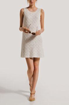 Vestido Branco de Crochet - Crochet e moda
