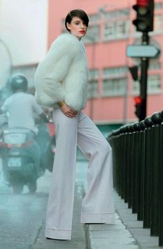 Who said you can't wear white after labor day? Especially if it's fabulous #fur. www.foxandklaff.com