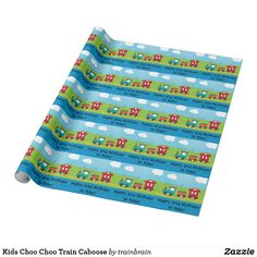 Shop Kids Choo Choo Train Caboose Wrapping Paper created by trainbrain. Personalize it with photos & text or purchase as is! Wrapping Paper Design, Custom Wrapping Paper, Happy 2nd Birthday, Special Birthday, Birthday Supplies, Party Supplies, Paper Train, Kids Wraps, Choo Choo Train