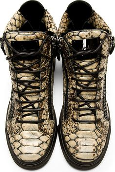 Giuseppe Zanotti: Beige Snakeskin-Embossed High-Top Sneakers
