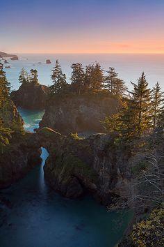 Oregon Coast between Brookings and Gold Beach near the California border.