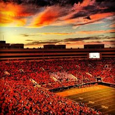 Boone Pickens Stadium where we will beat Baylor this year ! Oklahoma State University, Oklahoma State Football, Go Pokes, Alma Mater, Beautiful Sunset, College Life, Oh The Places You'll Go, Pistol Pete, Senioritis