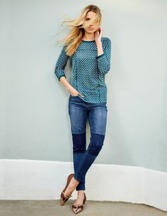 Claudia Top from Boden - I love the color and the stitching detail of this printed top. But the jeans, not so much...