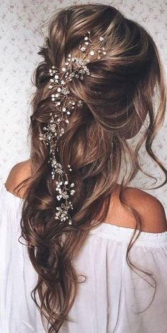 SALE Crystal and Pearl hair vine Extra Long Hair Vine Bridal.- SALE Crystal and Pearl hair vine Extra Long Hair Vine Bridal Hair Vine Wedding Hair Vine Crystal Hair Piece Bridal Jewelry Hair Vine Pearl - Bridal Hair Vine, Wedding Hair Vine, Half Up Half Down Wedding Hair, Wedding Hair Curls, Fall Wedding Hair, Boho Bridal Hair, Bridal Braids, Bridal Beauty, Bridal Hair Half Up With Veil