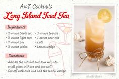 Easy-to-make cocktail recipes - Drink Recipe - long island iced tea with gin and tequila Easy To Make Cocktails, How To Make Drinks, Refreshing Cocktails, Summer Drinks, Cocktail Drinks, Fun Drinks, Cocktail Ideas, Party Drinks, Gin Drink Recipes