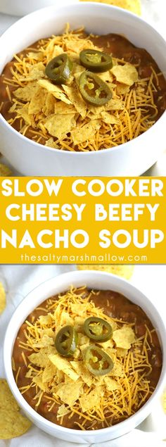 This Slow Cooker Cheesy & Beefy Nacho soup is a super easy crockpot or slow cooker soup recipe that the whole family will love for dinner!  Quick and easy to make for a weeknight, loaded with ground beef, nacho flavor and extra delicious topped with sour cream!