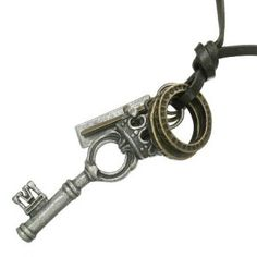Dark Brown Leather Necklace Crown & Key Pendant Men's Jewellery #mensfashion #mensjewellery