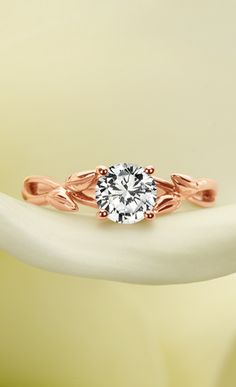 ROSE GOLD DIAMOND RING - with filigree leaves, love the modern nature inspiration for a wedding ring.