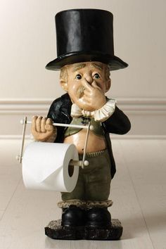Tissue holder - Dutiful butler offers one roll of tissue in his hand and stores another in his hat.