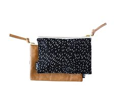 Specks Fabric & Leather Pouch by ZanaProducts on Etsy