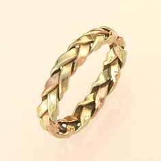 Rose, Green, and Yellow  Gold Braided Ring for the Groom, handmade in Maine