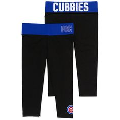 Victoria's Secret Chicago Cubs Bling Yoga Crop Legging ($40) ❤ liked on Polyvore featuring activewear, activewear pants, blue, yoga activewear and logo sportswear
