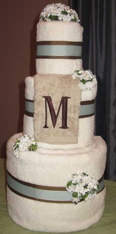 Wedding Towel Cake. Gift for a bridal shower. Personalized with monogram and color scheme.