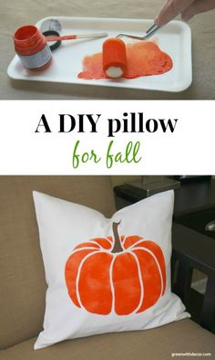 Oh my gosh, I love this DIY fall pillow! How cute!| Green With Decor                                                                                                                                                     More