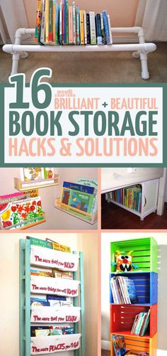 These adorable, beautiful and practical kids book storage hacks and solutions will help you with your playroom organization, while encouraging kids to read!