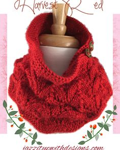 Ladies Scarf Neckwarmer Red Lace Caron Simply Soft #ButterflysPin