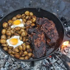 Coffee is not just a drink that you enjoy in the morning! Try out my new Chipotle Coffee Rub Steak and Eggs Skillet to have your mind blown. Egg Skillet, Skillet Steak, Open Fire Cooking, Ny Strip Steak, Bbq, Cast Iron Cooking, Steak And Eggs, Outdoor Cooking, Food Cravings