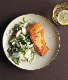 Salmon With Bok Choy and Apple Slaw recipe