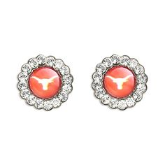 UT Texas Longhorns Circle Swarovski Crystal Earrings