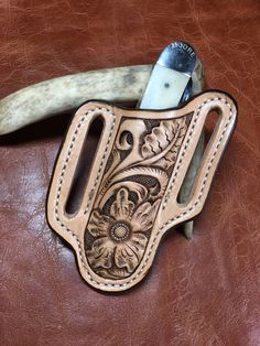 Slanted Pocket Knife Belt Sheath / Pancake Knife Sheath / Case Sheath / Western Floral / Trapper Knife Sheath by sobleather on Etsy