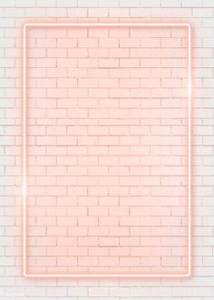 Rectangle orange neon frame on an orange brick wall vector premium image by manotang Framed Wallpaper, Pink Wallpaper Iphone, Iphone Background Wallpaper, Pastel Wallpaper, Tumblr Wallpaper, Aesthetic Iphone Wallpaper, Iphone Wallpapers, Aesthetic Wallpapers, Cute Wallpapers