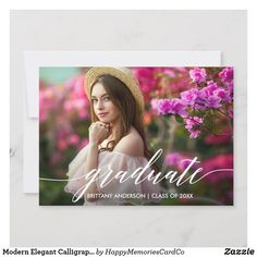 Shop Modern Elegant Calligraphy Script Graduate Photo Announcement created by HappyMemoriesCardCo. Personalize it with photos & text or purchase as is! Graduation Invitations College, College Graduation Gifts, Graduation Photos, Graduation Celebration, Thank You Postcards, Photo Postcards, Rsvp Postcards, Graduation Announcement Cards, Card Companies