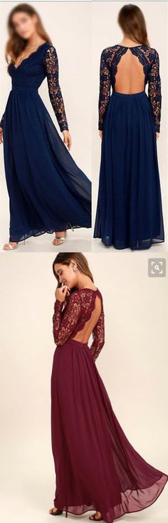 Long Sleeves V Neck Backless Navy Blue Lace Prom Dresses Evening Dress Bridesmaid Dress LD897 #navyblue #lace #promdresses #bridesmaiddresses #longsleeves