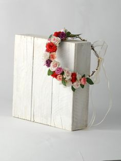 Rose fleur couronne, bandeau mariage Floral, Couronne de la tête de la fleur, pièce rustique tête, rustique Couronne nuptiale Floral