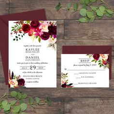 Floral Wedding Invitation Suite - INCLUDED - • 5 x 7 Invitation • 3.5 x 5 Response Card • A7 Envelope - you choose color • RSVP Envelope - you choose color - DETAILS - • Wording can be customized to your preference. • Any design changes may require additional fees. • Once purchased, please send me your wedding details. I will update digital proofs for your review and approval within 3 – 7 business days. • Please provide me with your envelope color selection. You can use one color or two. ...