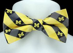 New University of Michigan Plaid Mens Bow Tie Adjustable College Logo Bowtie #EaglesWings #BowTie