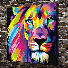 HD Print Oil Painting Wall Decor Art Canvas,Color the lion 24x26inch(No frame)