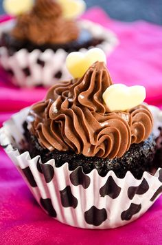 Eggless chocolate coffee cupcakes. These are super easy and super moist. Even dairy-free when the frosting is left out! | giverecipe.com | #cupcakes #coffee #chocolate #eggless #valentine