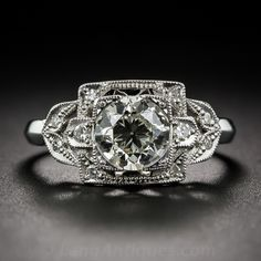 1.10 Carat Platinum and Diamond Art Deco Engagement Ring - 10-1-7026 - Lang Antiques