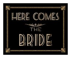 Here Comes the Bride  Printable  Roaring 20'sGreat by PSPrintables, $3.00