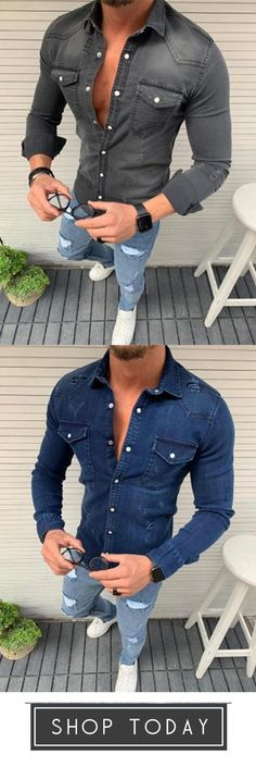 Casual Long Sleeve Lapel Jeans Tops - All About High Fashion Men, Urban Fashion, Mens Fashion, Fashion Suits, Casual Chic Style, Look Chic, Style Masculin, Black Jeans Outfit, Casual Wear For Men