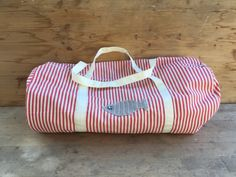 cae6ada2e2 Borsa in tessuto canvas beige e rosso a righe , borsa grande, shopping,  borsa