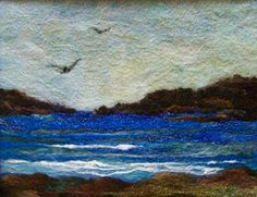 The Blues - Needlefelt Art XLarge - Looks like Valinor Wet Felting, Needle Felting, Painted Doors, Felt Crafts, Art Studios, Textile Art, Wool Felt, Fiber Art, Crochet