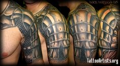Armour half-sleeve  he had a cherry creek armband that he wanted covered up. he had already started on some of the armour up around the neck and on the chest, we just reshot what he had and carried it on down and over the armband. took about 6 session. i hope to never tattoo