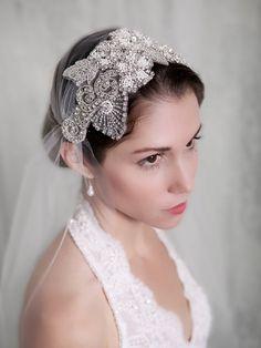 Art Deco Veil Silver Crystal Pearl Veil Tulle Cap by GildedShadows, $260.00