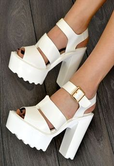 CARA Chunky High Heel Strappy Summer Sandals in WHITE