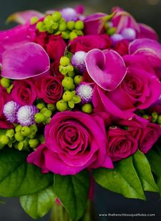 Bouquet of Hot Pink Princess Roses, Callas, Gomphrena and Green Hypericum Berries - The French Bouquet
