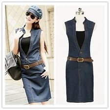 Summer New Arrival Women Denim Casual Dresses Ladies Sleeveless Hole Jeans Dress
