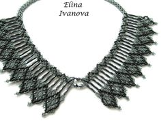 Beaded necklace Dark Paradise, exclusive handmade bib necklace, fashion 2014, jewelry, black, gray, beadwork
