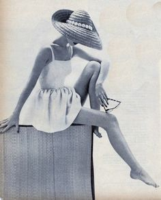 Love the pose, on a diving board or side of pool. We have big floppy hats to use