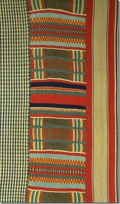 Detail: This cotton and silk Ewe cloth [British Museum number Af1934,0307.165 ] is the most elaborate of a group apparently assembled at the Ewe coastal town of Keta [then called Quittah by European sources] in the later decades of the nineteenth century by the Anglo-German merchant Charles Beving and donated to the museum in 1934.